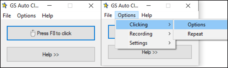 chọn Options > Clicking > Options