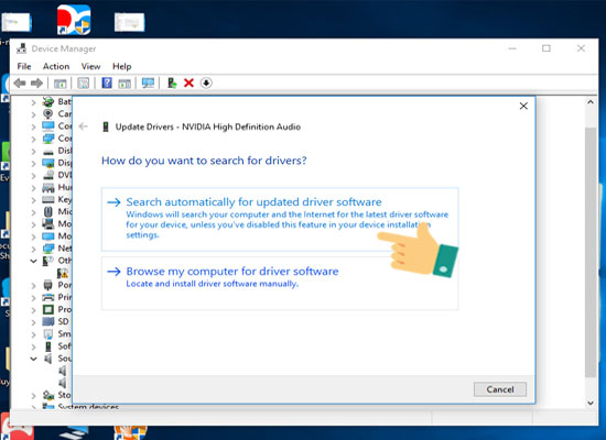 Nhấn chọn Search automatically for updated driver software