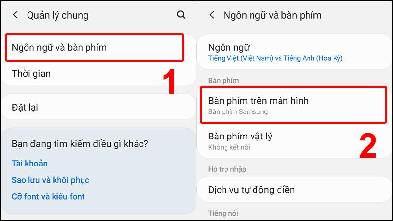 Vào Ngôn ngữ và bàn phím và chọn mục Bàn phím trên màn hình