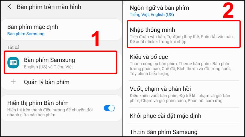 Nhấn vào Bàn phím Samsung và chọn Nhập thông minh