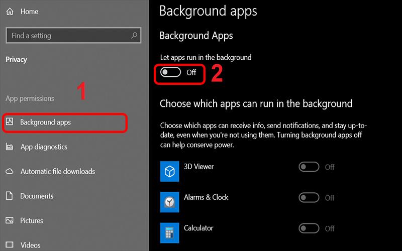 Tắt Các Ứng Dụng Chạy Ngầm Trên Windows 10