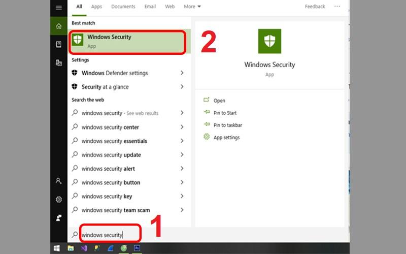 Mở Windows Security