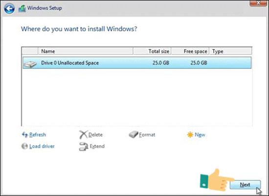 Chọn ổ đĩa cứng muốn cài đặt hệ điều hành Windows 10 rồi nhấn Next