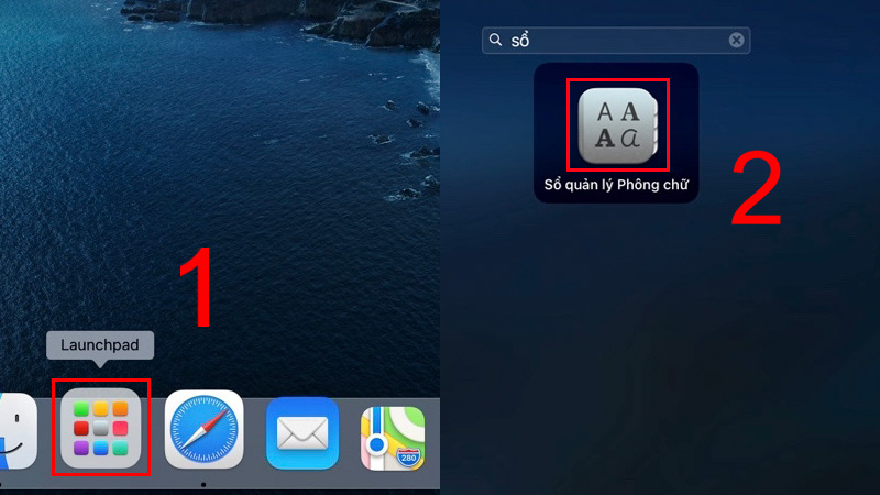Vào Launchpad, mở Sổ quản lý Phông chữ