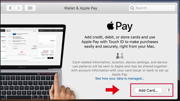 Chọn Add Card để thêm thẻ sử dụng cho Apple Pay