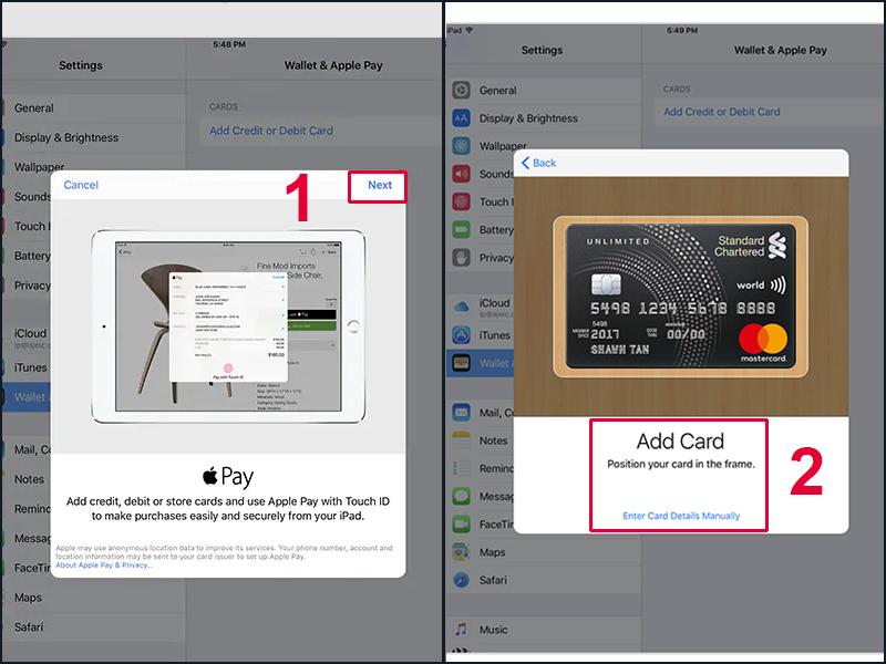 Thêm thẻ tín dụng hoặc thẻ ghi nợ để thiết lập Apple Pay