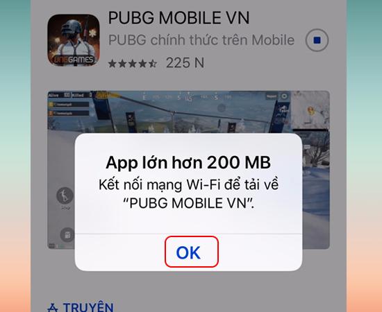 thông báo App quá lớn