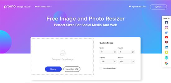 Bước 1: Bạn truy cập Promo Instant Image Resizer