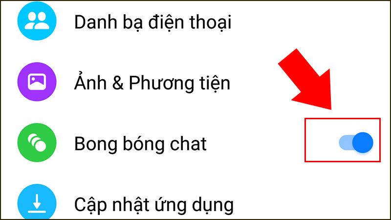 Kéo công tắc để bật, tắt chế độ mini chat Messenger