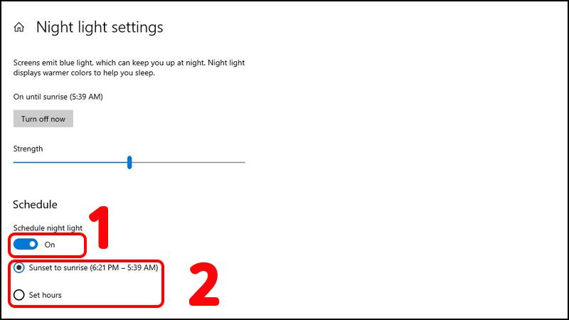 Bật, tắt Night Light tự động