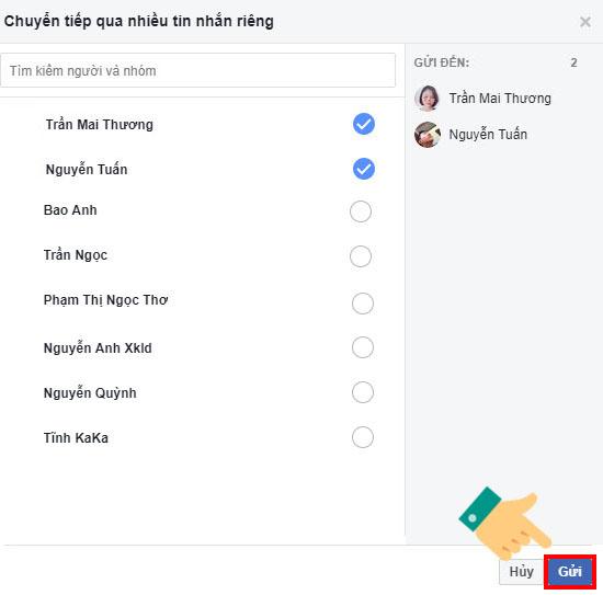 Hiển thị giao diện chuyển tiếp qua nhiều tin nhắn riêng, chọn tài khoản Facebook hoặc nhóm chat Facebook