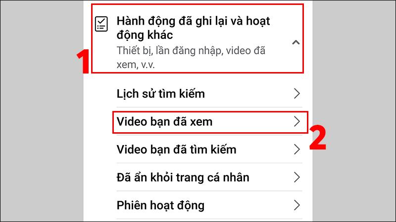 Chọn vào Video bạn đã xem