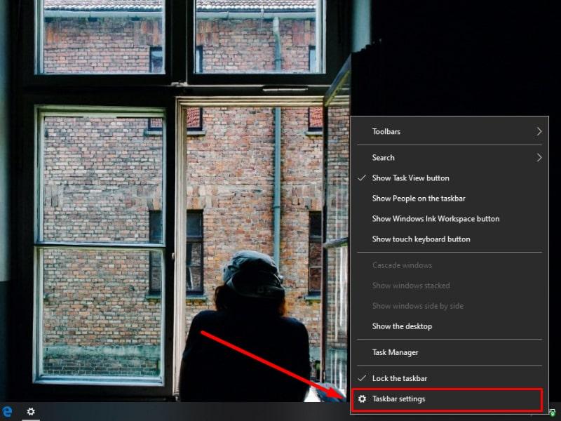 Mở Taskbar Settings