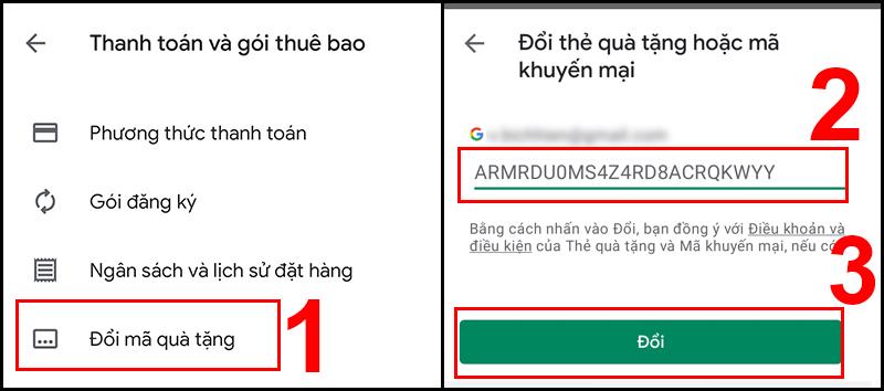 Nhận mã quà tặng Google Play trên điện thoại