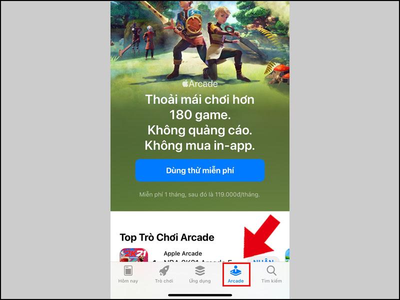 Chọn Arcade ở bên dưới của App Store