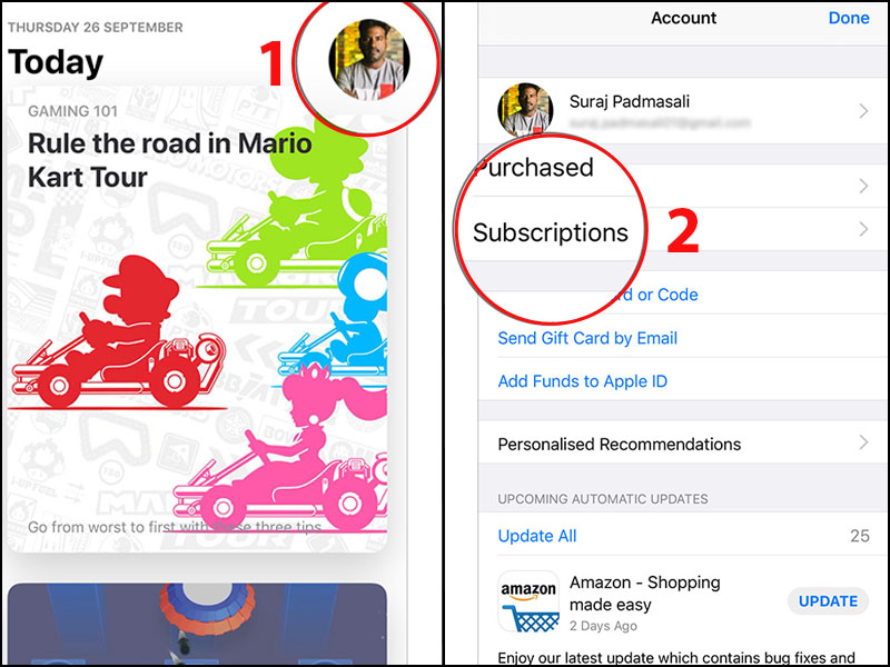 Chọn Subscriptions