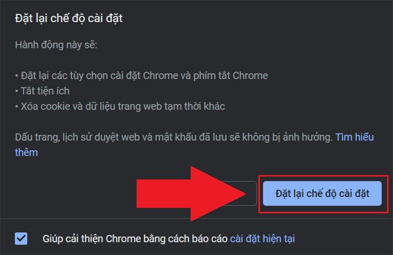 Xác nhận reset Chrome