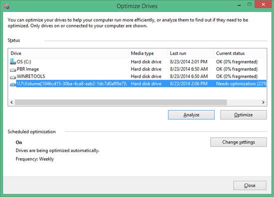 Windows Optimize Drives