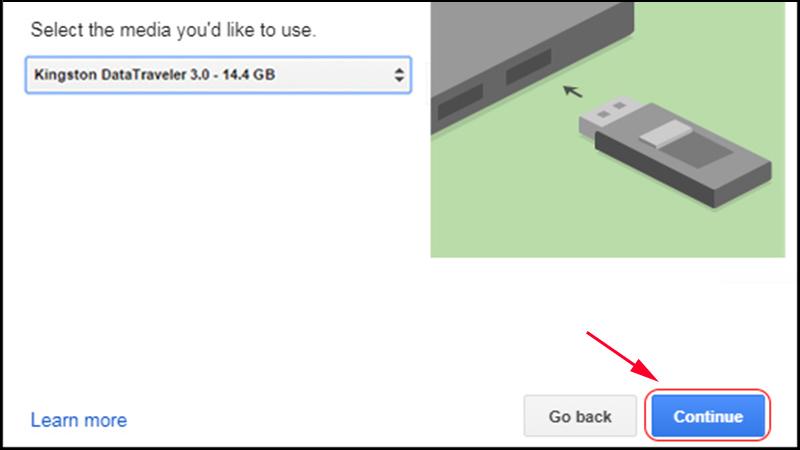 Chọn tên USB, sau đó bấm Continue