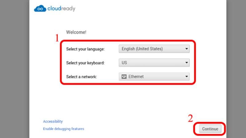 Chọn ngôn ngữ, bàn phím và mạng trong phần cài đặt
