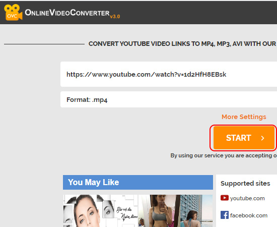 3. Tải Video Youtube bằng Onlinevideoconverter