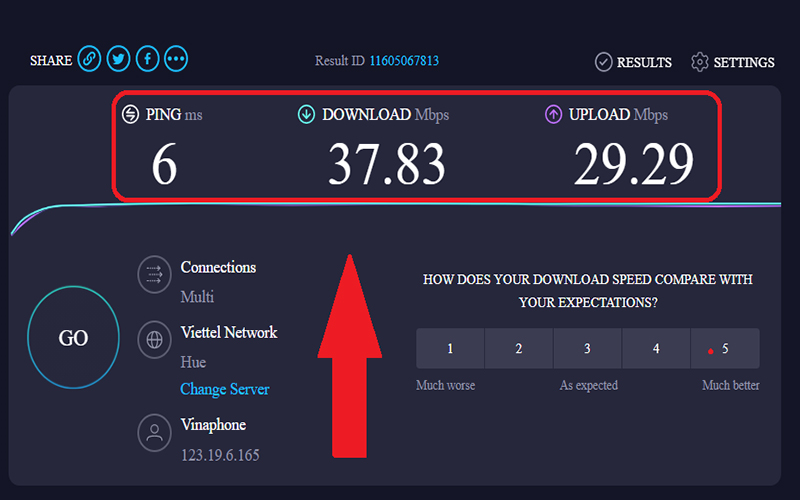 Xem kết quả kiểm tra tốc độ mạng