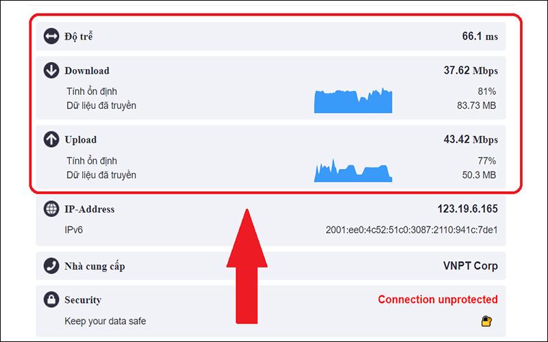 Xem kết quả đo tốc độ mạng qua web Speedcheck