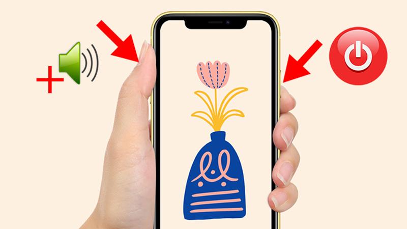 Nhấn đồng thời nút Nguồn và nút tăng âm lượng để chụp màn hình iPhone có Face ID