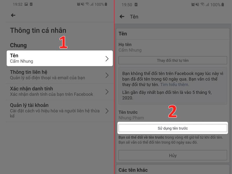 Hướng dẫn cách đổi lại tên cũ sau khi thực hiện đổi tên trên Facebook (2)