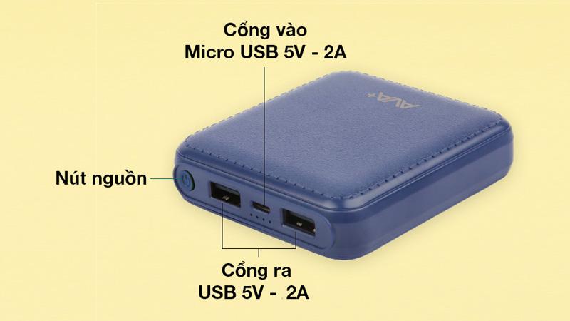 Gồm 2 cổng ra USB và 1 cổng vào Micro USB 5V - 2A và nút nguồn
