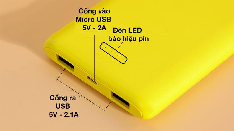 Gồm 2 cổng ra USB và 1 cổng vào Micro USB