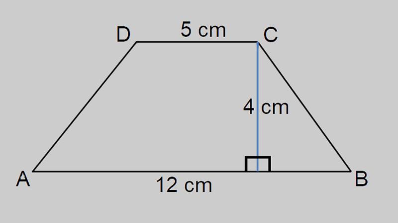 Hình thang DCAB có đáy bé, đáy lớn lần lượt là 5cm, 12cm, chiều cao 4cm