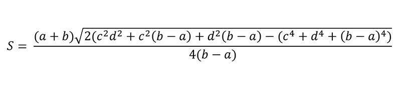 Công thức tính diện tích hình thang khi biết dộ dài 4 cạnh