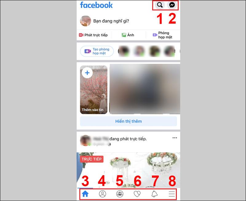 Giao diện chính của Facebook trên điện thoại