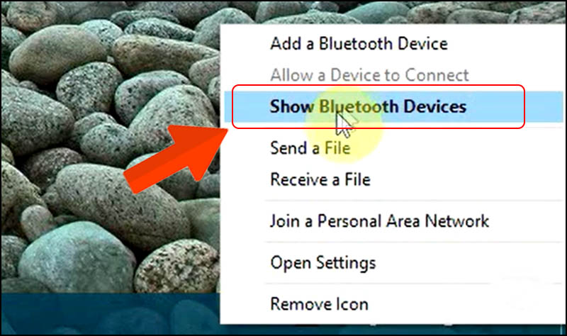 Chọn Show Bluetooth Devices.