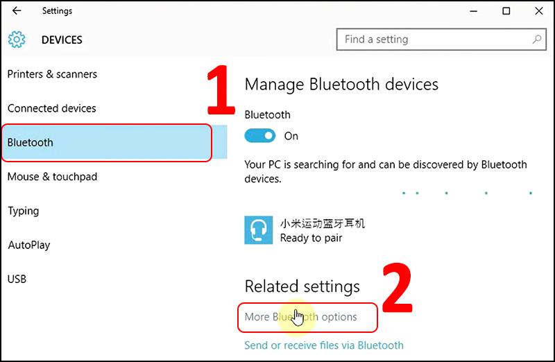 Chọn Bluetooth > Chọn More Bluetooth options.