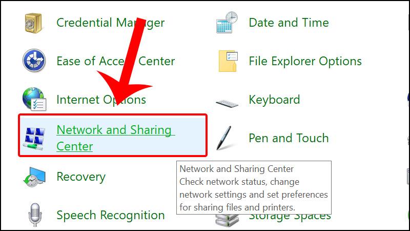 Nhấn vào Netwwork and Sharing Center