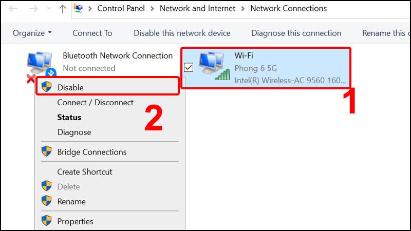 Chuột phải vào Wireless Network Connection và chọn Disable để tắt card WiFi