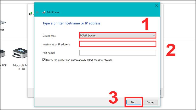 Chọn TCP/IP Device và nhập địa chỉ IP