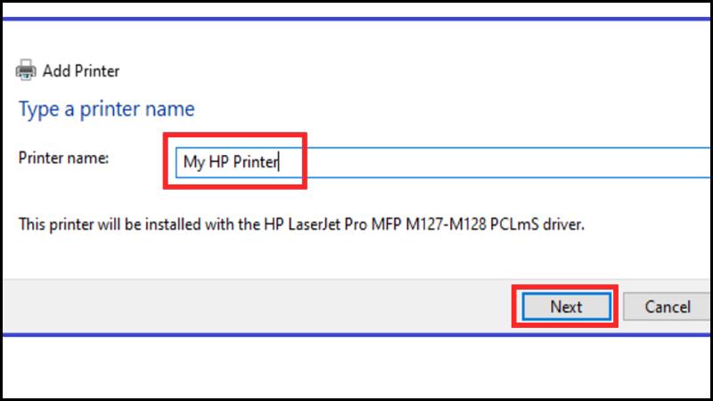 Nhập tên máy in vào Printer Name