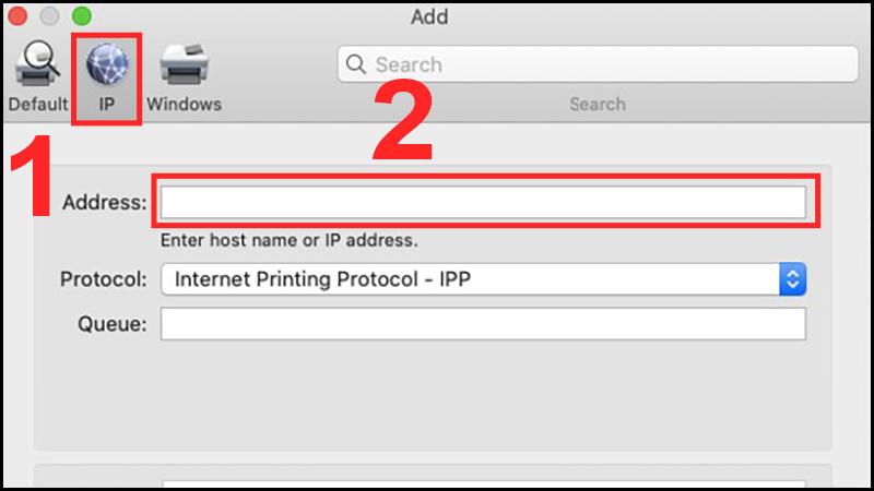 Nhập địa chỉ IP vào mục Address