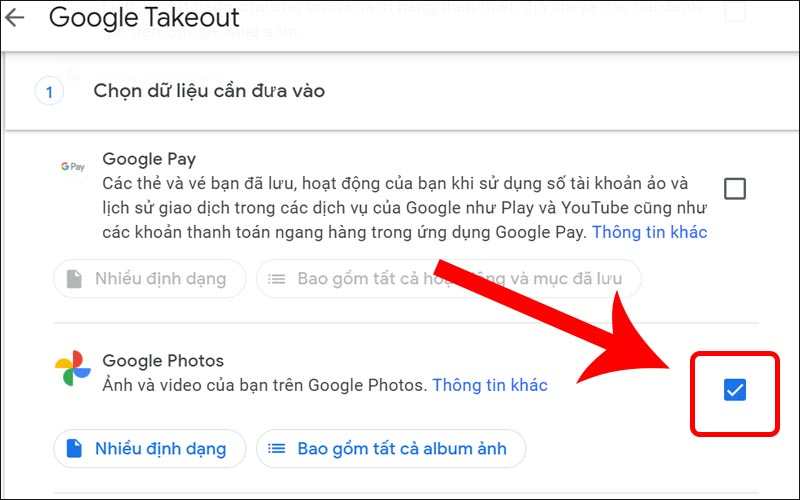 Tick chọn Google Photos