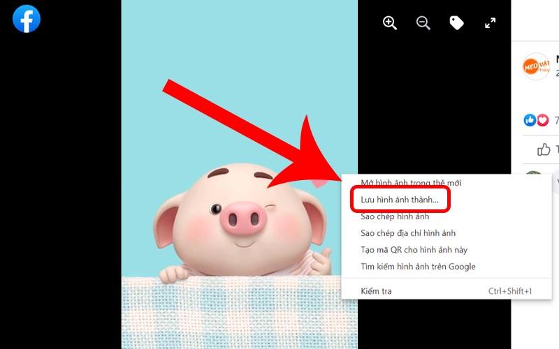 Nhấn chuột phải vào ảnh chọn lưu hình ảnh thành
