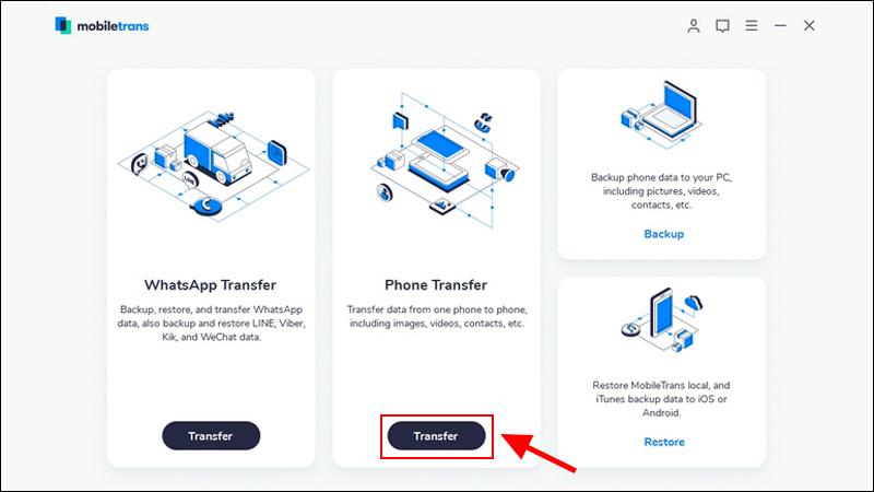 Truy cập vào website Mobiletrans