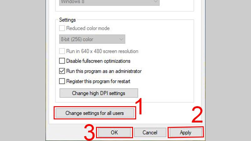 Chọn Change settings for all user để thay đổi thiết lập này cho toàn bộ tài khoản trên máy tính > chọn Apply -> OK để hoàn tất cài đặt