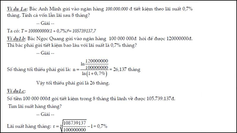 Một số ví dụ về bài toán tính lãi kép
