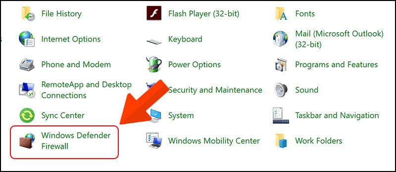 Chọn Windows Defender Firewall.