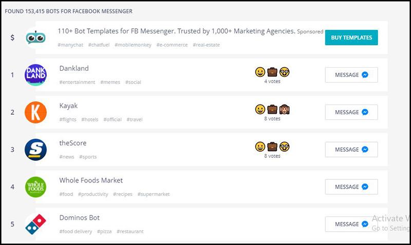 Website Chatbottle với giao diện các danh sách Chatbox đề cử cho Facebook Messenger