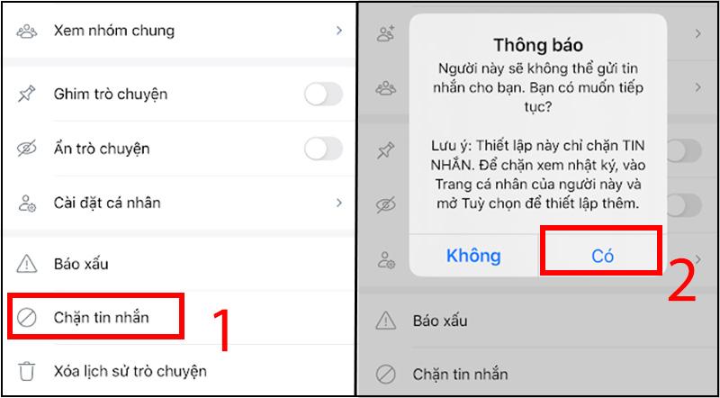 Chọn và xác nhận chặn tin nhắn