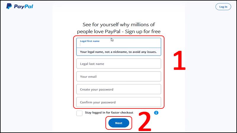 Nhập các thông tin cá nhân (tên, họ, email, mật khẩu) > Chọn Next.